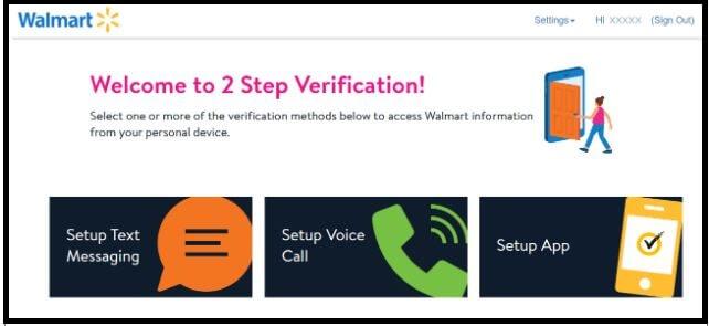 Do 2 Step Verification at walmart
